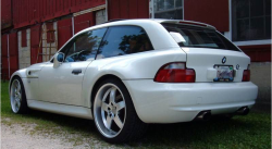2000 BMW M Coupe in Alpine White 3 over Estoril Blue & Black Nappa - Rear 3/4