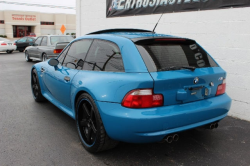 2001 BMW M Coupe in Laguna Seca Blue over Laguna Seca Blue & Black Nappa - Rear 3/4