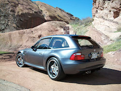 2002 BMW M Coupe in Steel Gray Metallic over Imola Red & Black Nappa - Rear 3/4