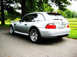 1999 BMW M Coupe in Arctic Silver Metallic over Imola Red & Black Nappa - Rear 3/4